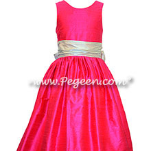 Platinum gray and shock pink silk flower girl dresses