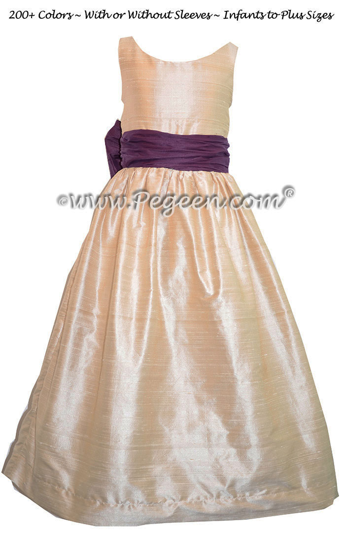 Jr Bridesmaids Dress in Pink and 1000 Nights Purple Silk Style 388 | Pegeen