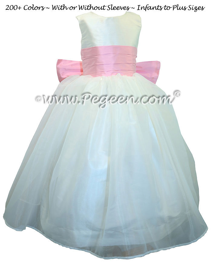 Antique White and Bubblegum Pink Silk Flower Girl Dresses