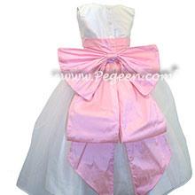 Antique White and Bubblegum Pink Silk Flower Girl Dresses