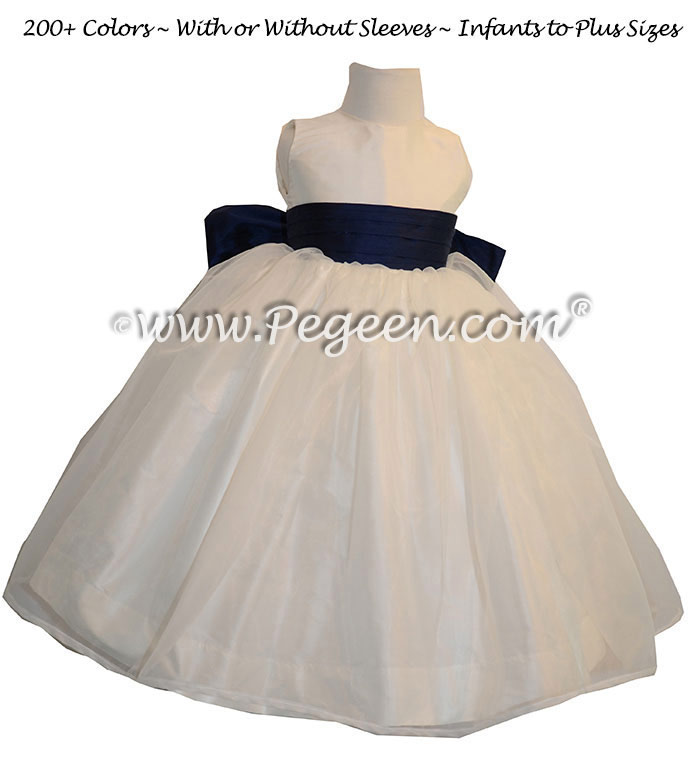 Flower Girl Dresses in Navy Blue and New Ivory Style 394