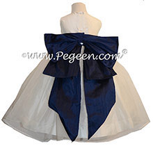 Flower Girl Dresses in Navy Blue and New Ivory Silk and Organza Style 394 by Pegeen