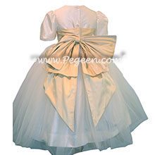 Spun Gold silk flower girl dresses with silk bow