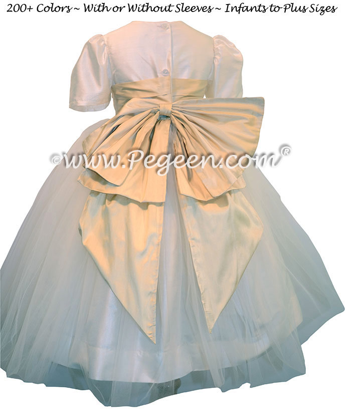 New ivory and Wheat (soft gold) Custom Silk Flower Girl Dresses - Style 394