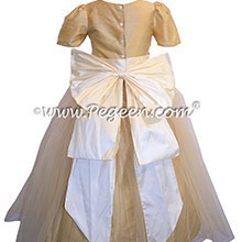 Flower Girl Dresses in Antique White and Pure Gold Style 394 by Pegeen