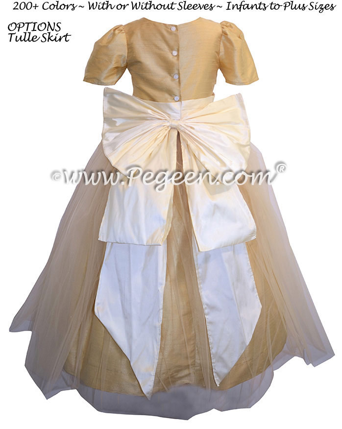 Flower Girl Dresses in Antique White and Gold Style 394 by Pegeen