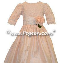 Baby Pink and New Ivory Flower Girl Dresses style 396