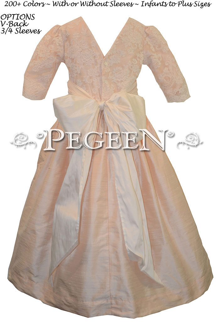 Baby Pink and New Ivory & Lace Flower Girl Dresses