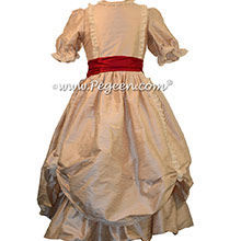 Toffee SILK DRESS FOR FLOWER GIRL by Pegeen Style 397