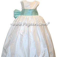Toddler Aqualine and Antique White Silk Flower Girl Dresses Style 398