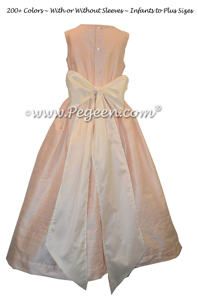Ivory and baby pink custom silk flower girl dresses - Pegeen Classic Style 398