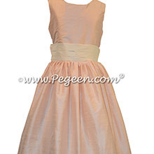 Ivory and baby pink silk flower girl dresses