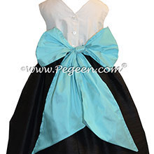 Flower Girl Dresses in Bahama Breeze or Tiffany Blue and Black