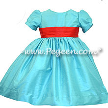 Pacific blue and Christmas Red infant silk flower girl dresses