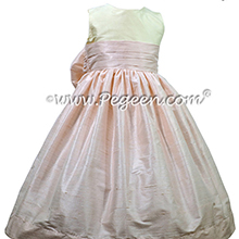 Bisque and Ballet Pink Silk Flower Girl Dresses