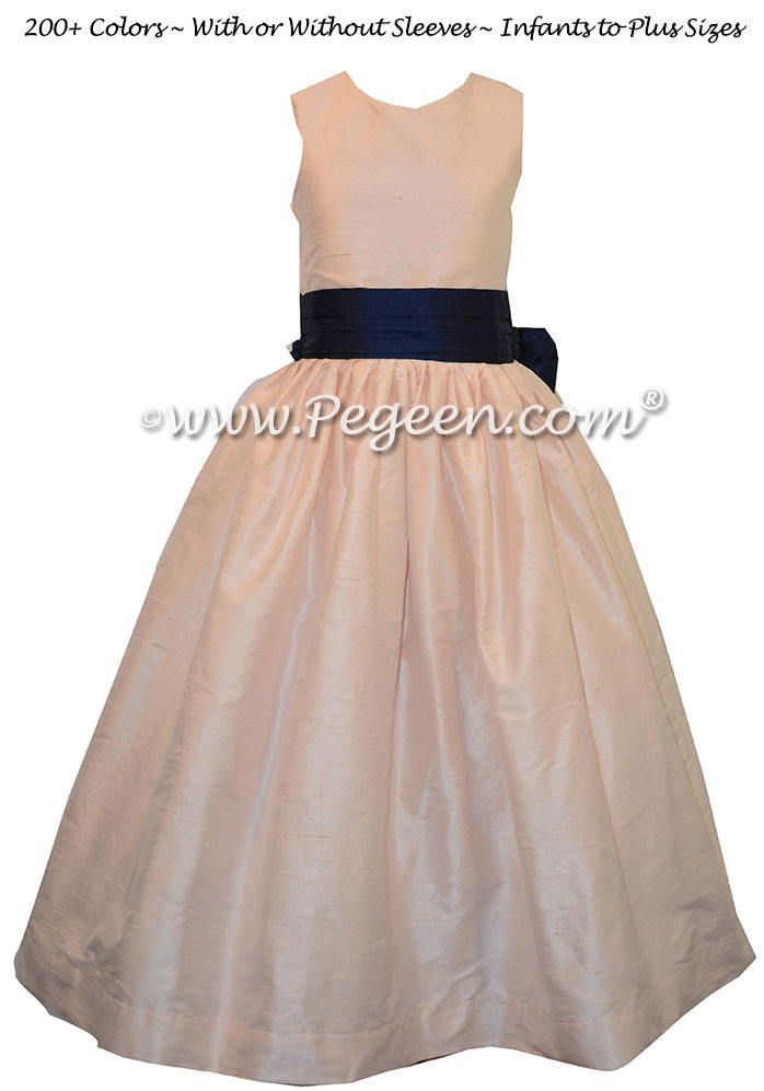 Flower girl dresses in Ballet Pink and Navy Blue silk style 398 | Pegeen