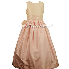 CHAMPAGNE PINK AND BLUSH PINK FLOWER GIRL DRESSES