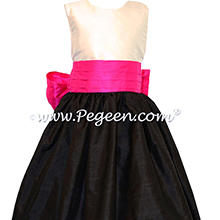 Boing (Fuschia) and Black Skirt with Antique White Bodice Flower Girl Dresses  Style 398