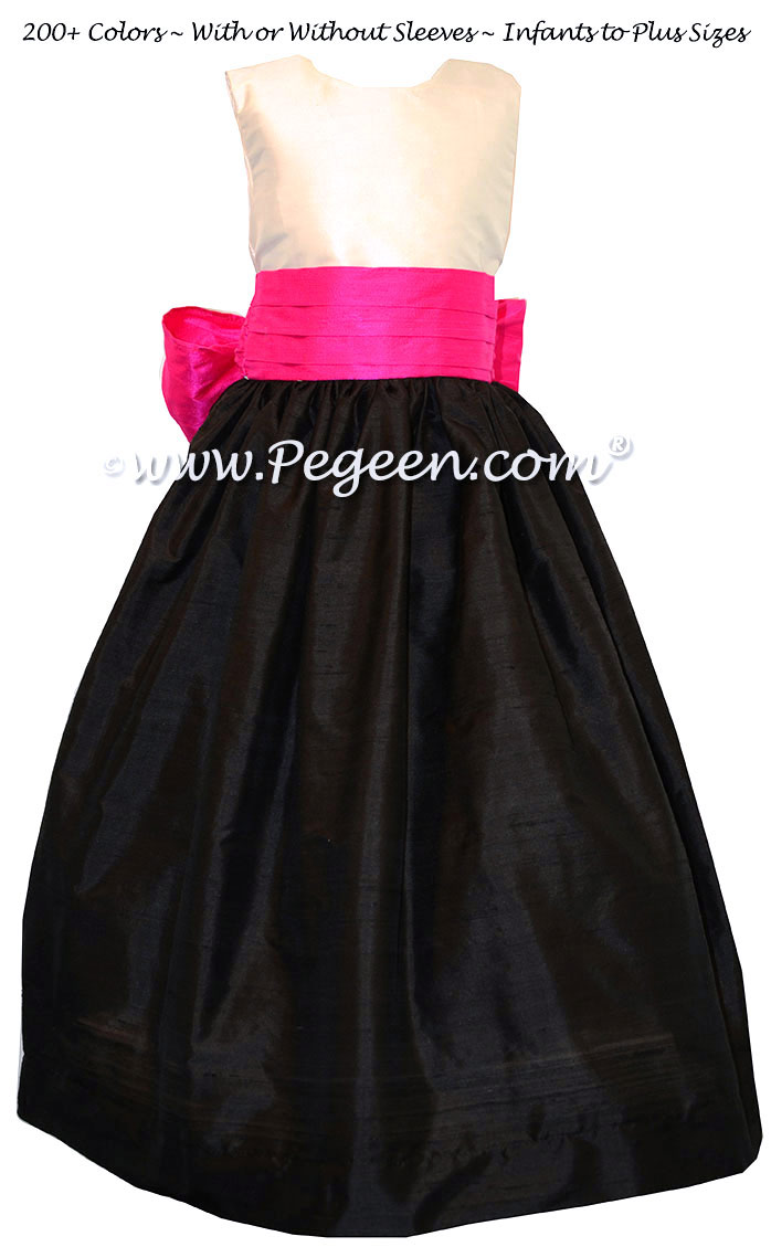 Flower Girl Dresses White Bodice, Boing Pink and Black Style 398 | Pegeen