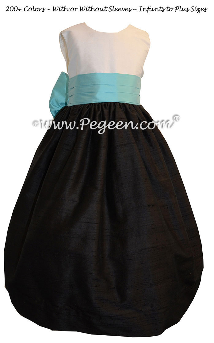 Flower Girl Dresses in bahama breeze turquoise and black