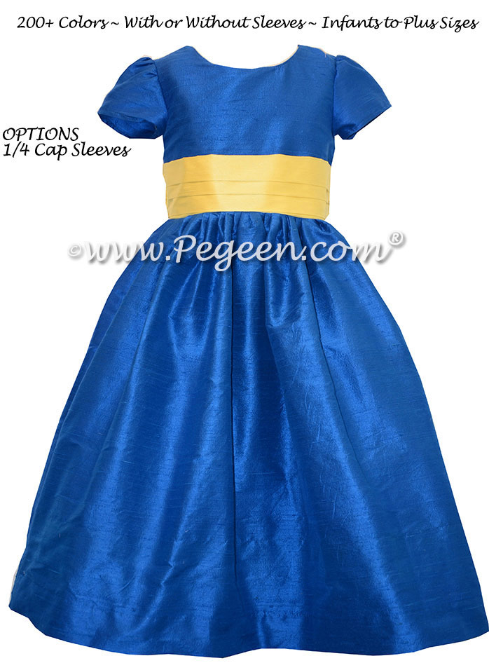 Flower Girl dresses - Style 398 Blue Indigo and Saffron Yellow | Pegeen