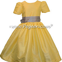 Silver Gray and Saffron Yellow Custom Silk Flower Girl Dresses