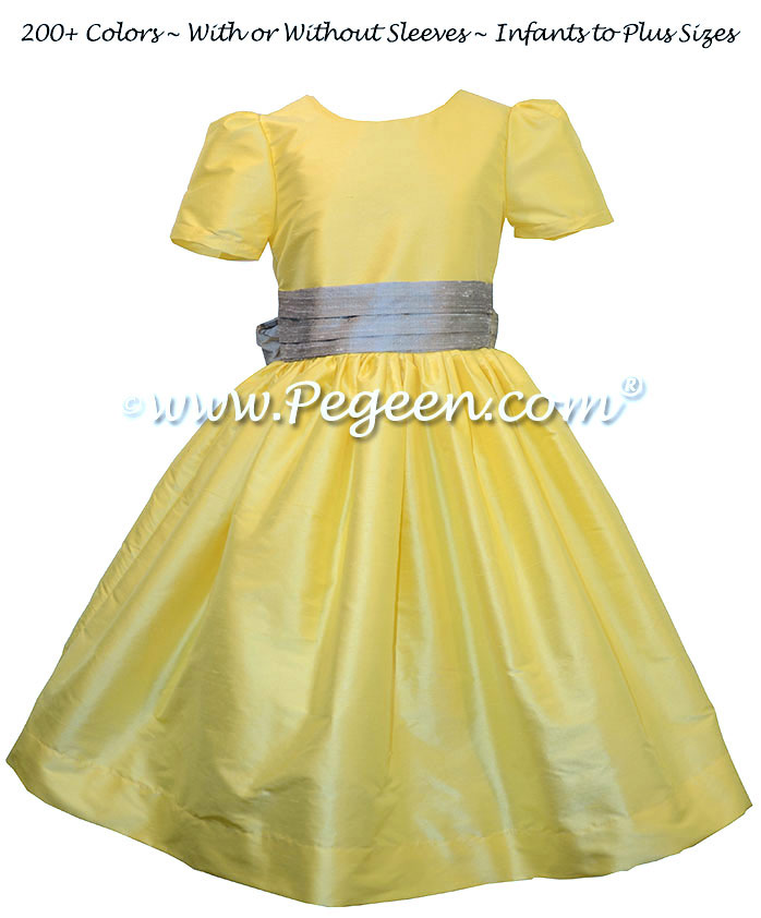 Custom Silk Flower Girl Dresses in Silver Gray and Saffron Yellow | Pegeen
