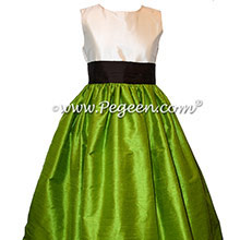 Flower Girl Dress Style 398 - in Grass Green and Semi Sweet Brown