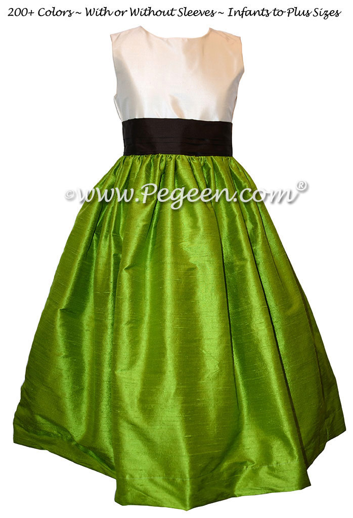 Simple Style Grass green and semi-sweet chocolate flower girl dress in silk