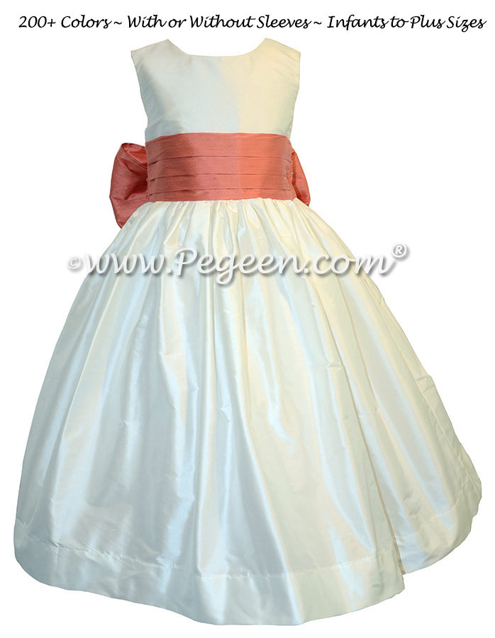 New Ivory and Sunset FLOWER GIRL DRESS Style 398 by Pegeen