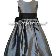 Medium gray and black custom silk flower girl dresses
