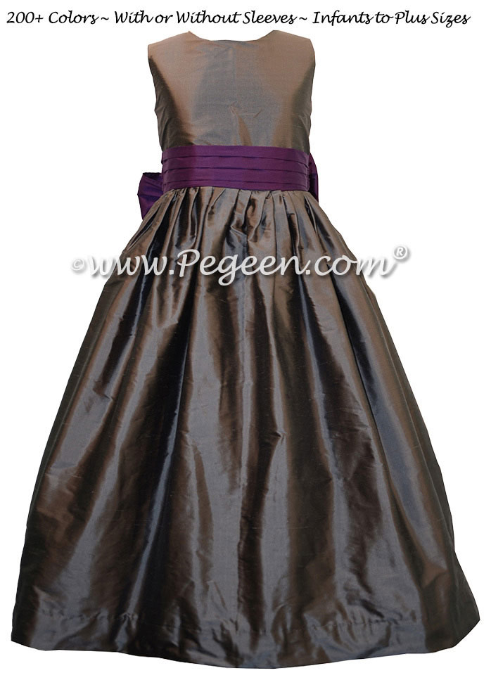 Flower girl dresses Classic Style 398 Deep plum and medium gray | Pegeen