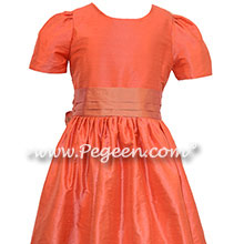 Melon and Salmon Flame Jr. Bridesmaids Dresses