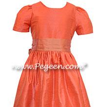 Melon and Salmon Flame Jr. Bridesmaids Dresses
