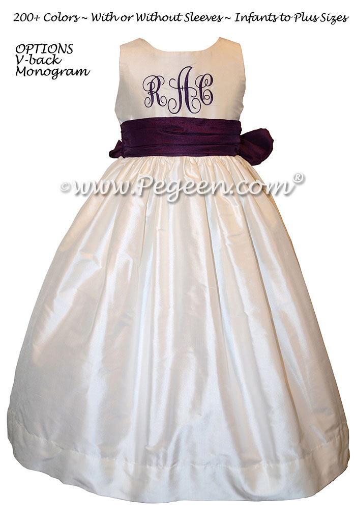 Monogrammed ivory and eggplant silk flower girl dresses