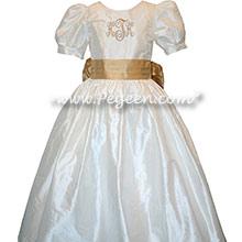 Custom Silk Flower Girl Dress Style 398 with Monogramming in Spun Gold