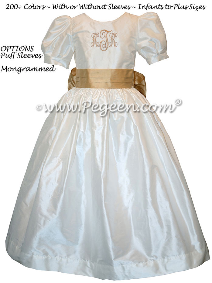 Custom Silk Flower Girl Dress Style 398 with Monogramming in Spun Gold
