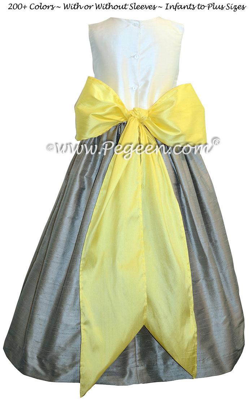 Flower Girl Dress in Lemonade and Morning Gray - Pegeen Style 398