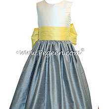 Flower Girl Dress in Lemonade and Morning Gray - Pegeen Style 398