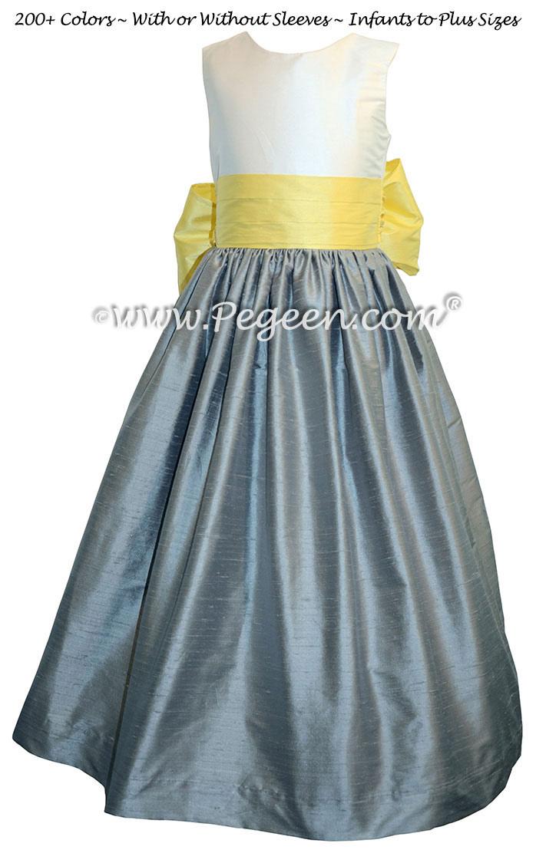 Lemonade and morning gray silk flower girl dress pegeen flower girl dress in lemonade and morning gray pegeen style 398 mightylinksfo