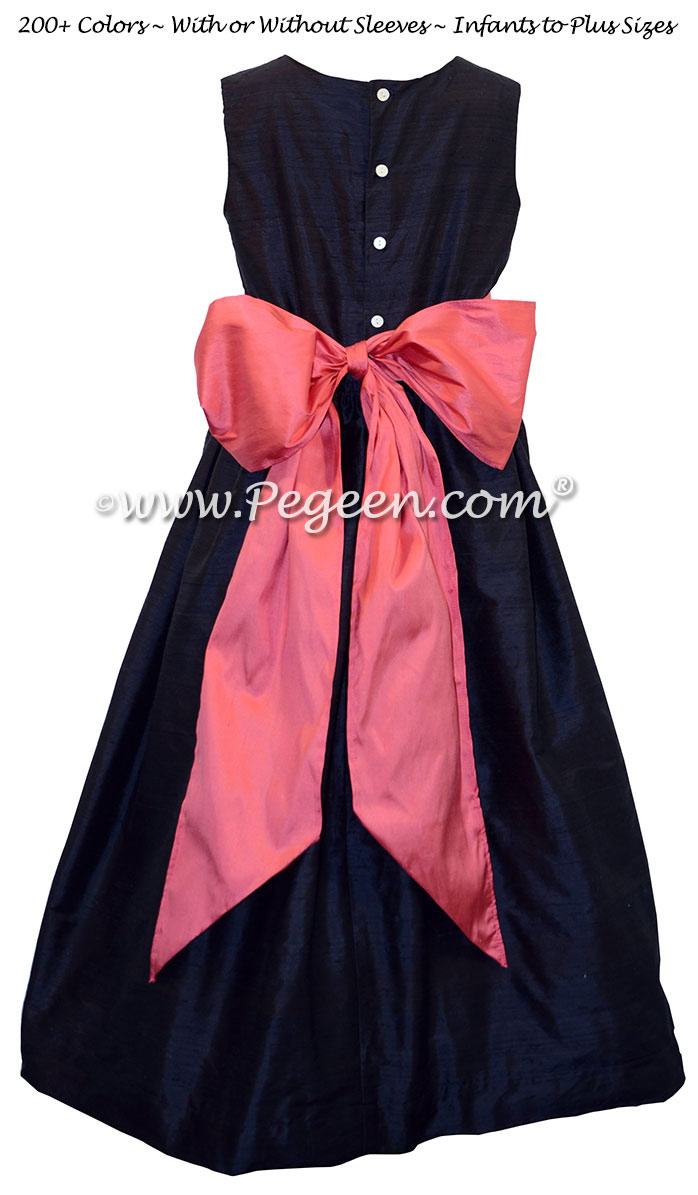 Navy and lollipop pink silk flower girl dresses