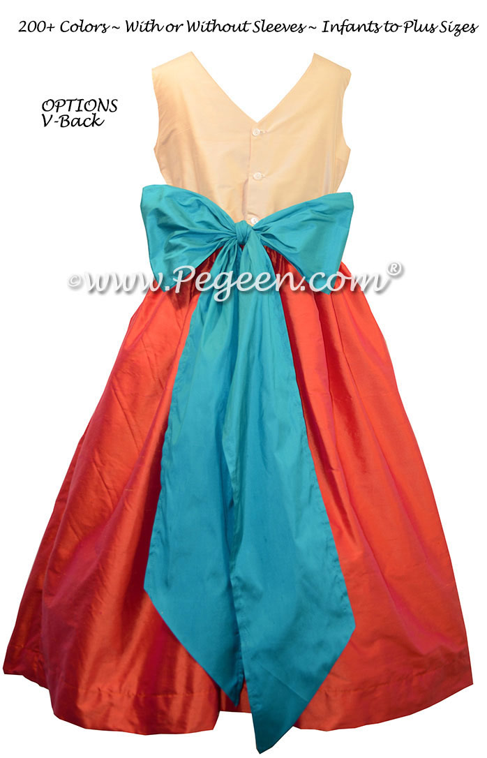 Flower Girl Dresses in bisque, fire (mango, orange) and oceanic (turquoise) silk custom style 398