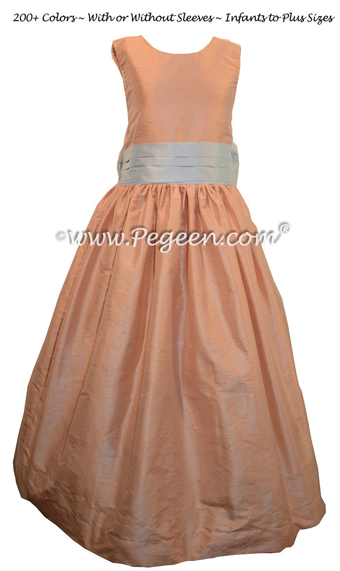 Flower girl dress in peach and baby blue silk Style 398 | Pegeen