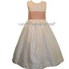 New Ivory and Peach FLOWER GIRL DRESSES