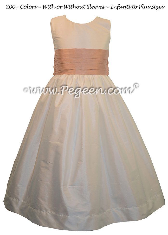 Flower Girl Dress Style 398 in New Ivory and Peach Silk | Pegeen