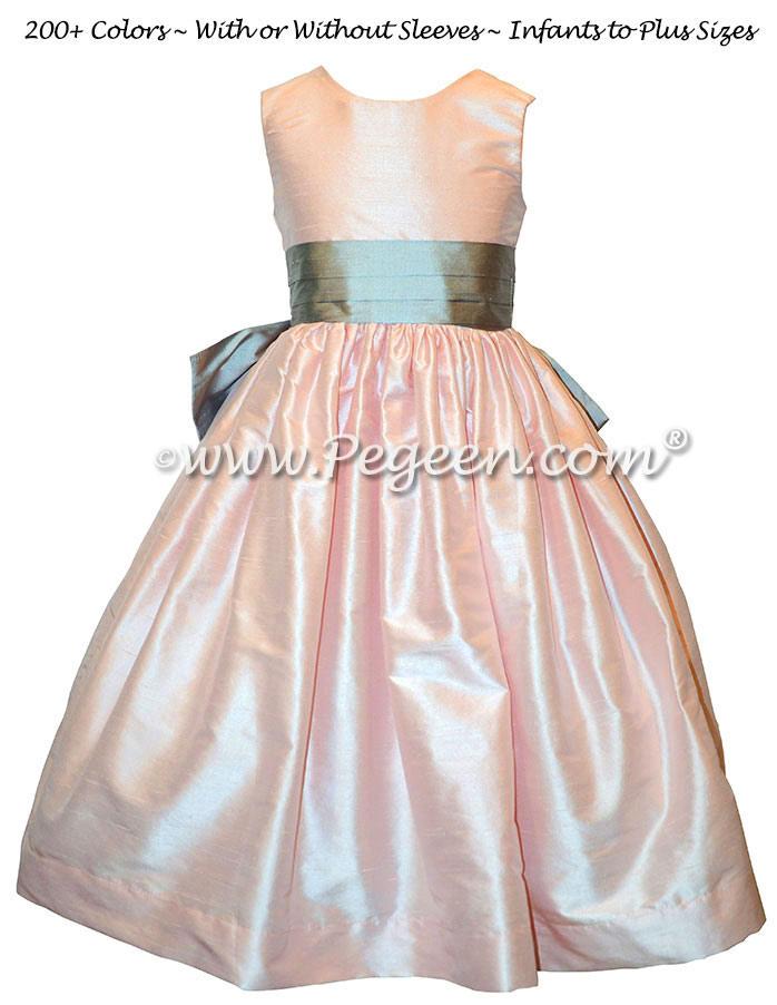 Peony Pink and Medium Gray Flower Girl Dresses | Pegeen