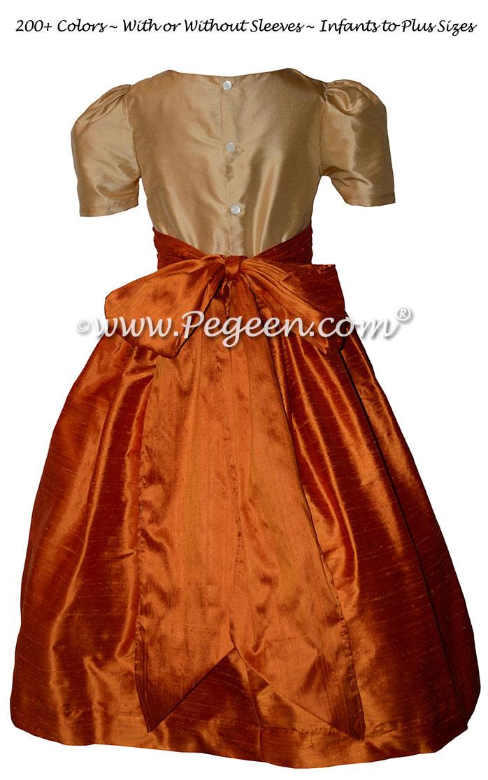 Pumpkin Orange and Bisque Silk Custom Flower Girl Dresses