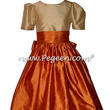 Flower Girl Dress Style 398 in Bisque and Pumpkin Silk