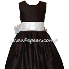 Champagne Pink and Semi-sweet Brown Custom Silk Flower Girl Dresses Style 398 | Pegeen