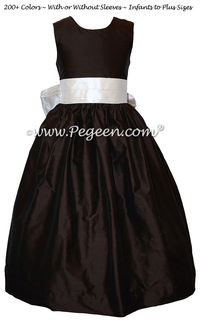 Champagne Pink and Semi-sweet Brown Silk Flower Girl Dress Style 398